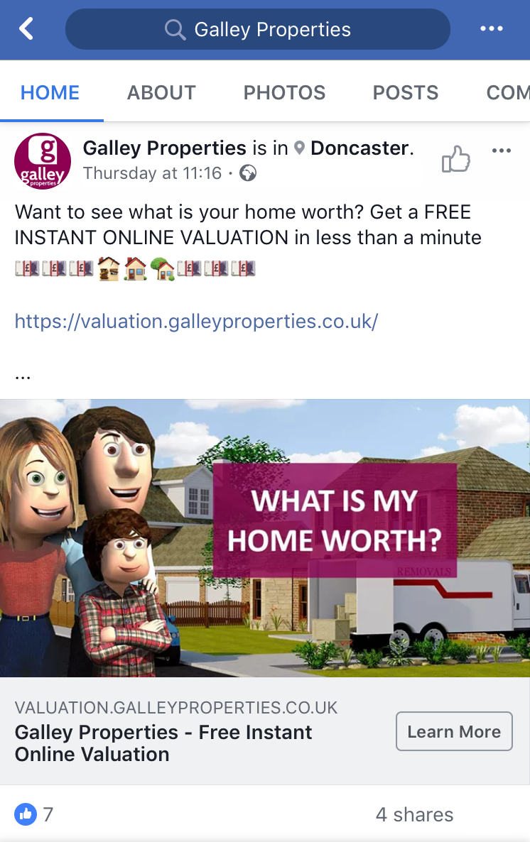 Instant online valuation ad example Facebook